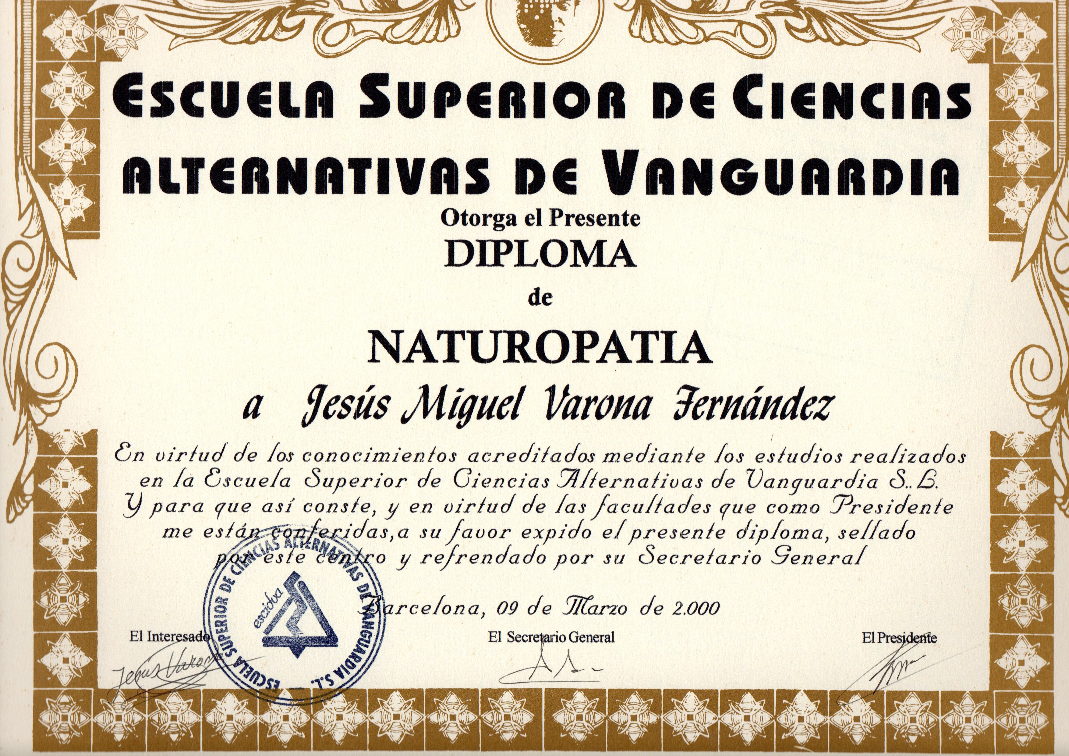 DIPLOMA DE NATUROPATA